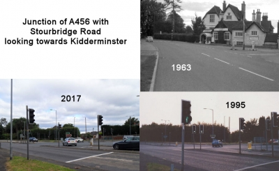 Junction of A456 with Stourbridge Road looking towards Kidderminster