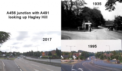 A456 Junction with A491 looking up Hagley Hill