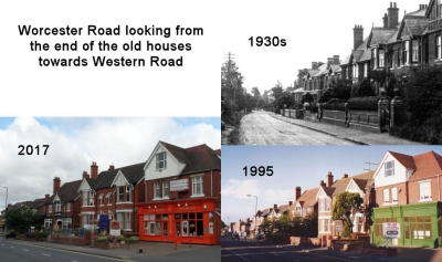 Worcester Road looking from the end of the old houses towards Western Road